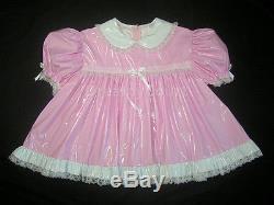 Adult Sissy Baby Pvc Dress 2 Pcs Set Light Pink