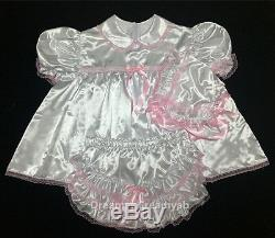 Adult Sissy Baby Satin Baby Dress All White