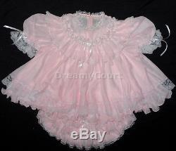 Adult Sissy French Baby Chiffon Dress Bb Pink