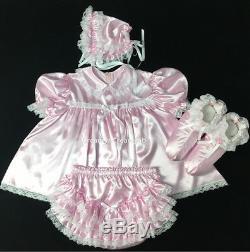 Adult Sissy Innocent Baby Pink Satin Dress 4 Items Set (szx L)