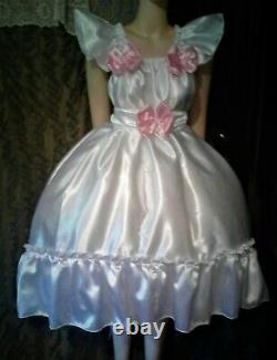 Adult Sissy White Satin Ruffled Baby Doll Dress No Panties Chest 52