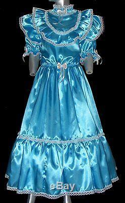 Adult baby Kleid Zofenkleid Sissy maid pink poolblau S bis XXL