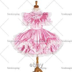 Adult baby lockable pink Satin Sissy Maid Crossdress dress Tailor-madeG1231