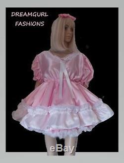 Adult baby satin dress Fancy dress sissy lolita cosplay gathered skirt