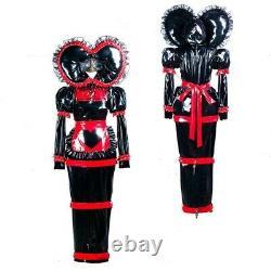 Adult baby sissy Maid black PVC Dress lockable TV Romper Tailor-made &