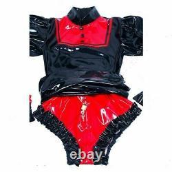 Adult baby sissy Maid black PVC Dress lockable TV Romper Tailor-made #