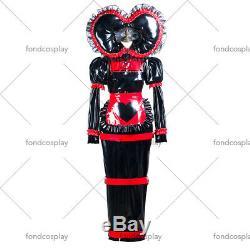 Adult baby sissy Maid black PVC Dress lockable TV Romper Tailor-madeG3741