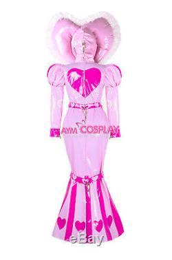 Adult baby sissy maid PVC dress Fishtail lockable bind costume G2339