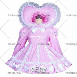 Adult sissy Maid baby pink PVC Dress Vinyl lockable TV Unisex Tailor-made