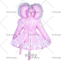Adult sissy Maid baby pink PVC Dress Vinyl lockable TV Unisex Tailor-madeG3900