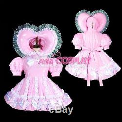Adult sissy baby Maid PVC Dress Vinyl lockable TV Unisex Tailor-madeG3823