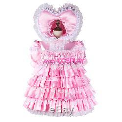 Adult sissy baby Maid Satin Dress lockable Unisex Tailor-madeG2343/G2392