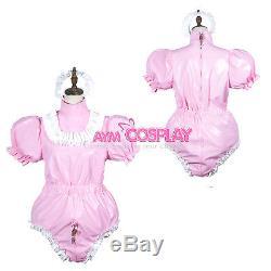 Adult sissy baby PVC Romper lockable vinyl Unisex tailor-madeG3779