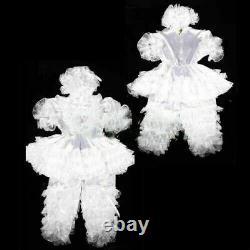 Adult sissy baby satin Romper Suit lockable Uniform costume @
