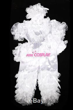 Adult sissy baby satin Romper Suit lockable Uniform costumeG2400