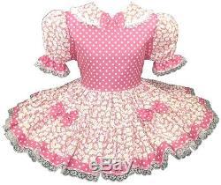 Alexa Custom Fit PINK Polka Dots Daisies Adult Baby LG Sissy Dress LEANNE