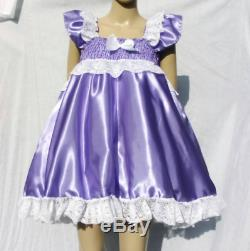 All sizes £45 abdl Adult Baby Sissy Short Dress in Purple Satin with FULL skirt