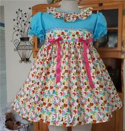 Annemarie-Adult Sissy Baby Girl Dress Lolita Cupcakes & Kittens Ready to Ship