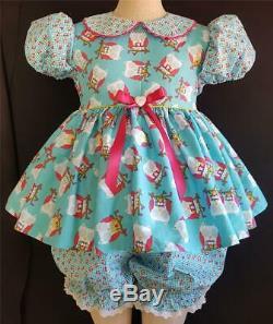 Annemarie-Adult Sissy Girl Baby Doll Dress &Pantaloons Hoot Hoot ReadyTo Ship