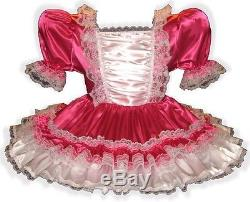 Annika Custom Fit Fuchsia Satin RUFFLES Adult Baby LG Sissy Dress LEANNE