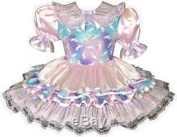 Arianna CUSTOM FIT Pink Satin Glitter Unicorn Adult Baby Sissy Dress LEANNE