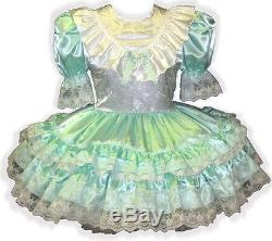 Brianna Custom Fit MINT SATIN RUFFLES Adult Baby LG Sissy Dress LEANNE