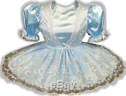 Brielle Custom Fit Blue SATIN Flower Organza Adult Baby LG Sissy Dress LEANNE