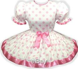 CUSTOM Made to FIT PINK Polka DOTS Ribbon Adult Baby Sissy Girl Dress LEANNE