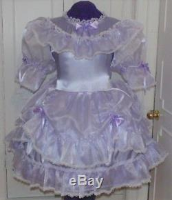 Charming Satin Organza Lavender Sissy Lolita Adult Baby Aunt D