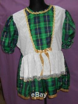 Cute Holiday Green Gold Sissy Dress Adult Baby Little Girl Attached White Apron