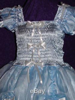 Darling Blue Satin Organza Sissy Lolita Adult Baby Custom Aunt D
