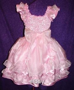 Darling Pink Satin Organza Sissy Lolita Adult Baby Custom Aunt D