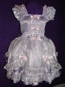 Darling Yellow Satin Organza Sissy Lolita Adult Baby Custom Aunt D