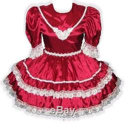 Dayna Custom Fit Burgundy Satin Adult Baby LG Sissy Dress LEANNE