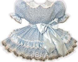 Dianna CUSTOM FIT Blue Satin Roses Adult Baby Sissy Dress with Sash LEANNE