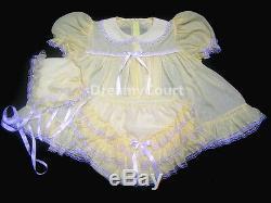 Dreamy Bb Adult Sissy Chiffon Light Yellow Baby Ruffles Dress