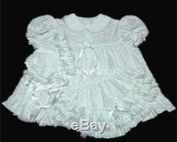 DreamyBB ADULT SISSY EMBRO VICTORIAN BABY DRESS BONNET all white