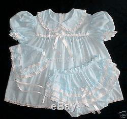 DreamyBB ADULT SISSY EYELET BABY BONNET Baby blue