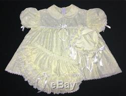 DreamyBB ADULT SISSY EYELET BABY DRESS SET BONNET Baby lemon
