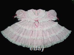 DreamyBB ADULT SISSY EYELET BABY TEA DRESS SET snap crotch