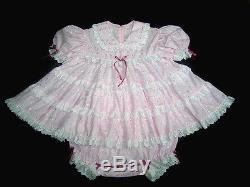 DreamyBB ADULT SISSY PINK EYELET BABY TEA DRESS SET snap crotch