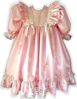 Elizabeth Custom Fit Pink Satin Empire Waist Adult Baby LG Sissy Dress LEANNE