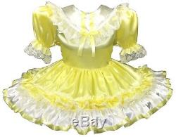 Ella Custom Fit Lacy YELLOW White SATIN Bows Adult Baby LG Sissy Dress LEANNE