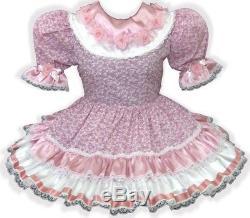Ellen Custom Fit Lacy Rose SATIN Roses Adult Baby Sissy Dress LEANNE