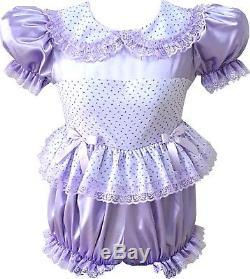 Erica CUSTOM FIT Lavender Satin ROSEBUDS Adult BABY LG Sissy Romper LEANNE
