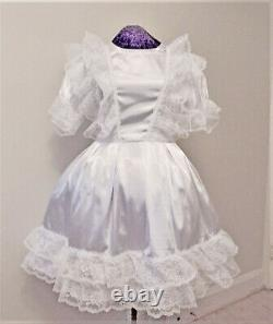 Fancy White Satin Sissy Lolita Adult Baby Dress Custom Aunt D