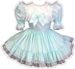Fayetta Custom Fit MINT Satin Ruffles Adult LG Baby Sissy Dress LEANNE