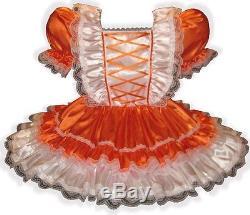 Ginger Custom Fit ORANGE SATIN Adult LG Sissy Baby Dress LEANNE