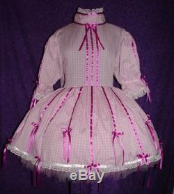 Gingham & Ribbon Blue Sissy Lolita Adult Baby Dress Aunt D
