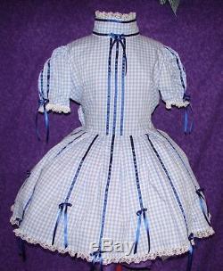 Gingham & Ribbon Pink Sissy Lolita Adult Baby Dress Aunt D